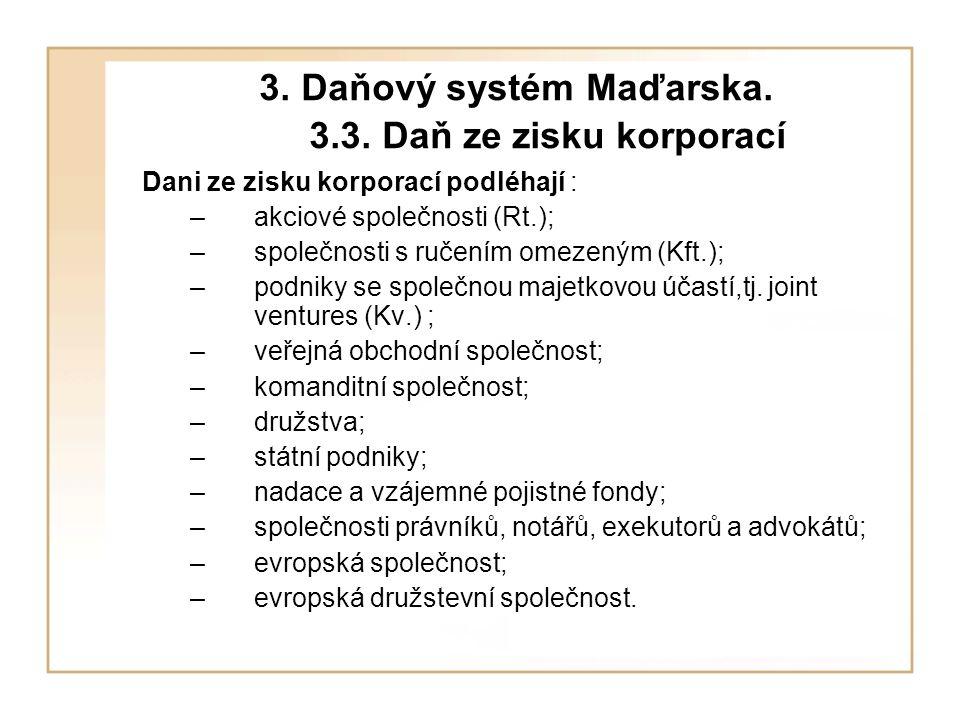 3. Daňový systém Maďarska. 3.3.