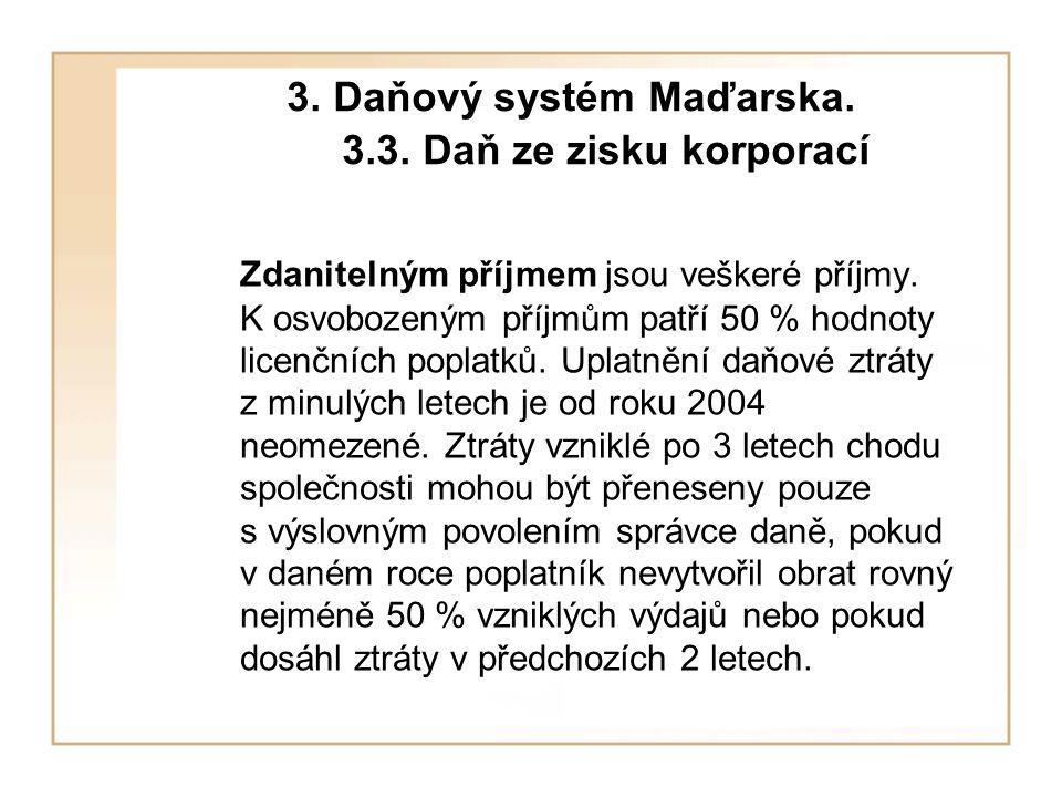 3. Daňový systém Maďarska. 3.3. Daň ze zisku korporací Zdanitelným příjmem jsou veškeré příjmy.