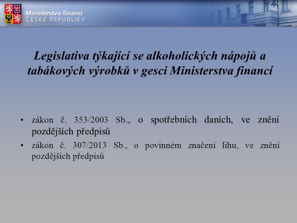 Legislativa týkající se alkoholických nápojů a tabákových výrobků v gesci Ministerstva financí zákon č.