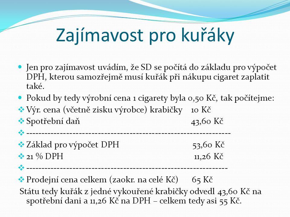 Zajímavost pro kuřáky Jen pro zajímavost uvádím, že SD se počítá do základu pro výpočet DPH, kterou samozřejmě musí kuřák při nákupu cigaret zaplatit také.