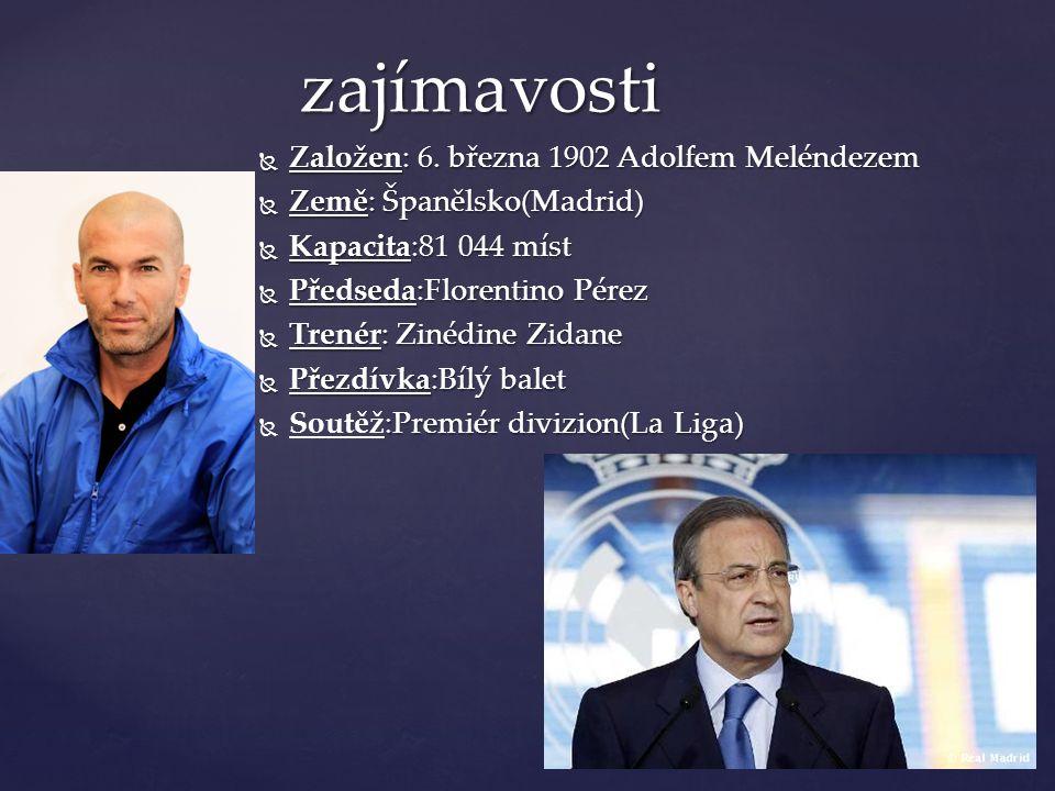  Založen: 6. března 1902 Adolfem Meléndezem  Země: Španělsko(Madrid)  Kapacita:81 044 míst  Předseda:Florentino Pérez  Trenér: Zinédine Zidane 