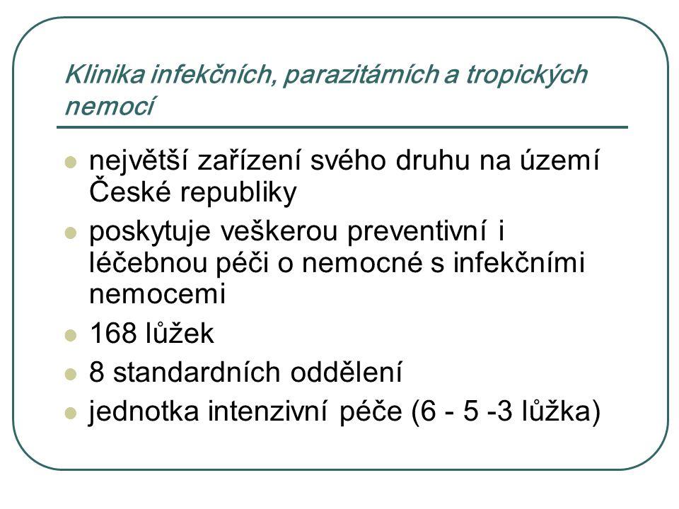 Klinika infekčních, parazitárních a tropických nemocí největší zařízení svého druhu na území České republiky poskytuje veškerou preventivní i léčebnou péči o nemocné s infekčními nemocemi 168 lůžek 8 standardních oddělení jednotka intenzivní péče (6 - 5 -3 lůžka)