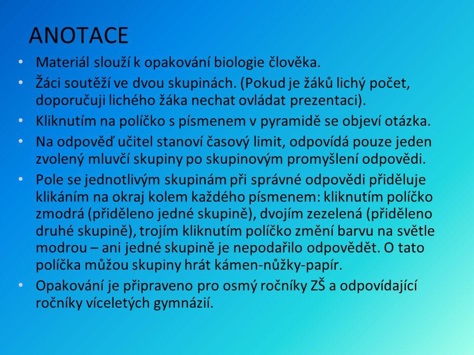 ANOTACE Materiál slouží k opakování biologie člověka. Žáci soutěží ve dvou skupinách. (Pokud je žáků lichý počet, doporučuji lichého žáka nechat ovlád