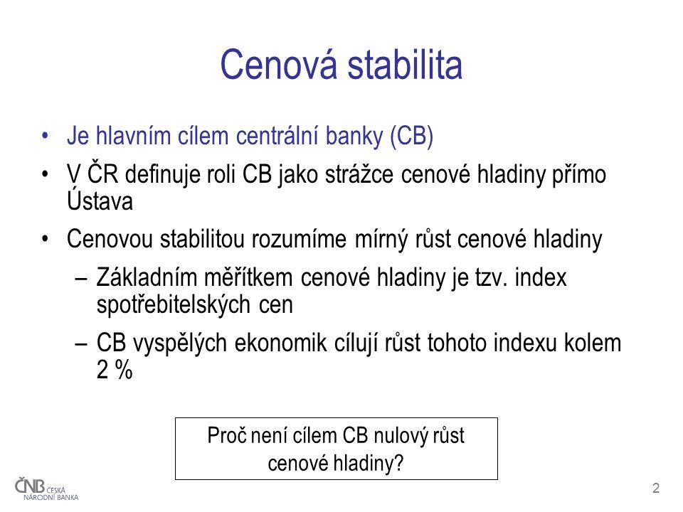 2 Cenová stabilita Je hlavním cílem centrální banky (CB) V ČR definuje roli CB jako strážce cenové hladiny přímo Ústava Cenovou stabilitou rozumíme mírný růst cenové hladiny –Základním měřítkem cenové hladiny je tzv.