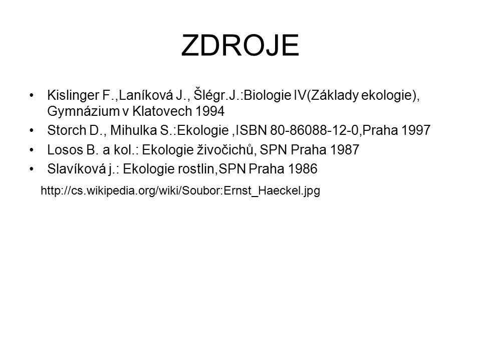 ZDROJE Kislinger F.,Laníková J., Šlégr.J.:Biologie IV(Základy ekologie), Gymnázium v Klatovech 1994 Storch D., Mihulka S.:Ekologie,ISBN 80-86088-12-0,Praha 1997 Losos B.