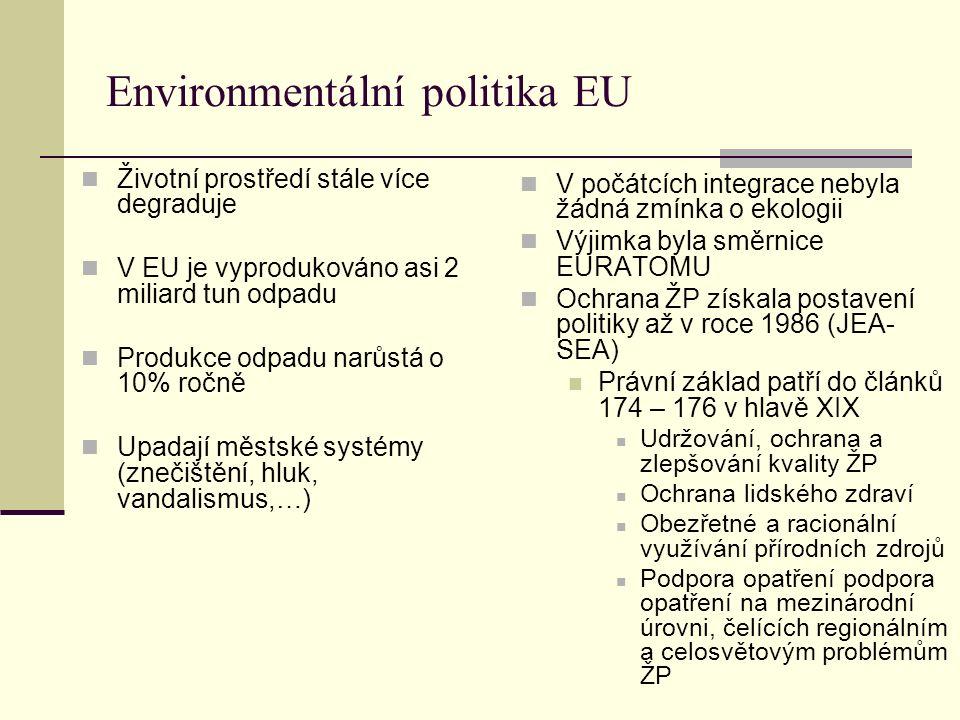 Environmentální politika EU Životní prostředí stále více degraduje V EU je vyprodukováno asi 2 miliard tun odpadu Produkce odpadu narůstá o 10% ročně