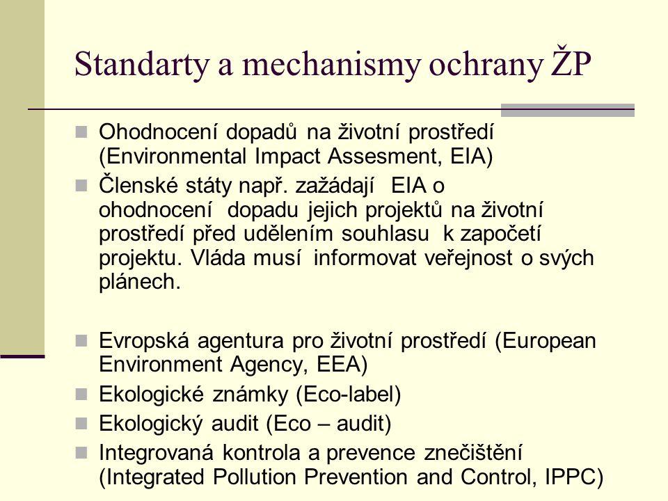 Standarty a mechanismy ochrany ŽP Ohodnocení dopadů na životní prostředí (Environmental Impact Assesment, EIA) Členské státy např. zažádají EIA o ohod