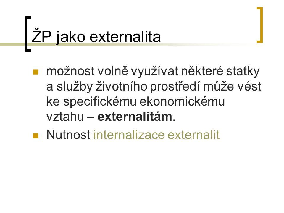 ŽP jako externalita možnost volně využívat některé statky a služby životního prostředí může vést ke specifickému ekonomickému vztahu – externalitám. N