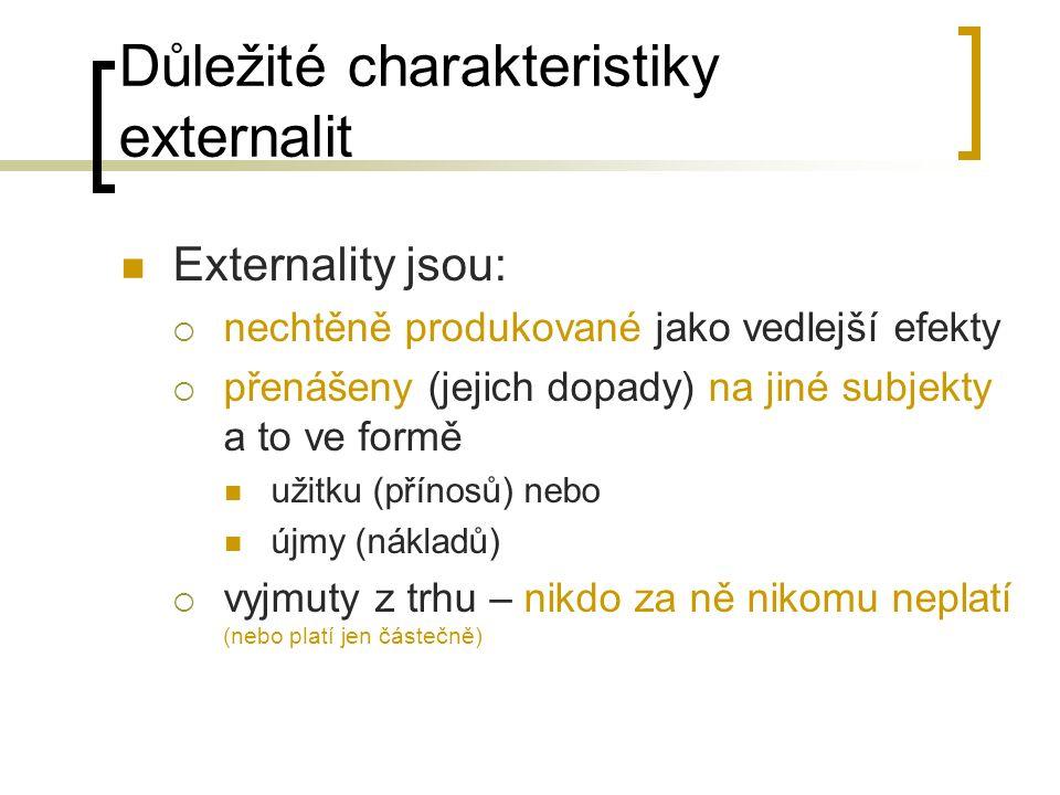 Důležité charakteristiky externalit Externality jsou:  nechtěně produkované jako vedlejší efekty  přenášeny (jejich dopady) na jiné subjekty a to ve formě užitku (přínosů) nebo újmy (nákladů)  vyjmuty z trhu – nikdo za ně nikomu neplatí (nebo platí jen částečně)