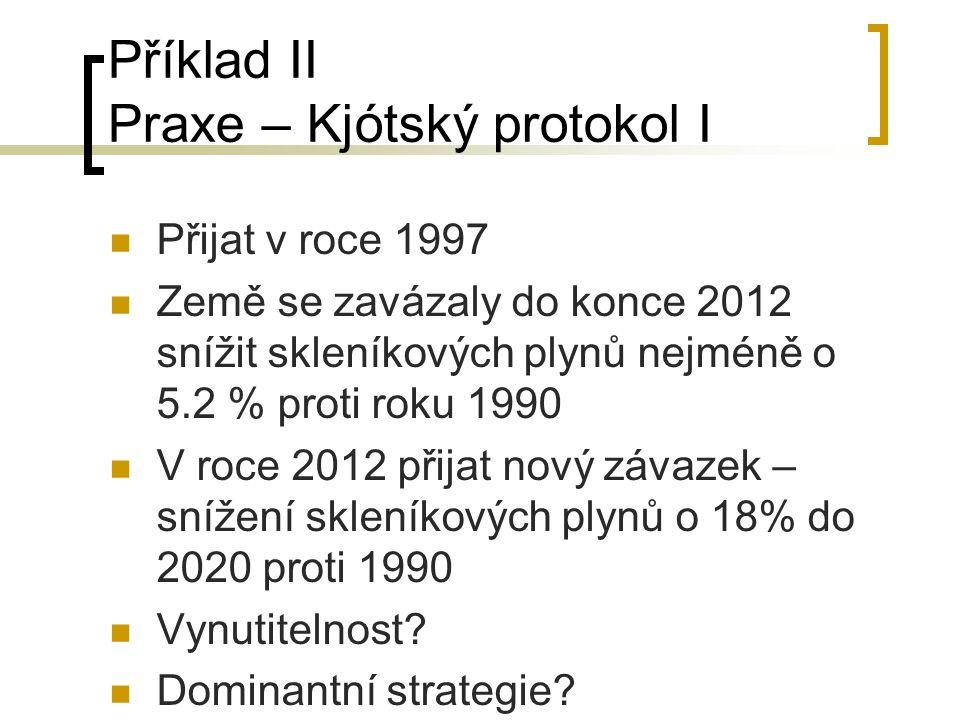 Příklad II Praxe – Kjótský protokol I Přijat v roce 1997 Země se zavázaly do konce 2012 snížit skleníkových plynů nejméně o 5.2 % proti roku 1990 V ro