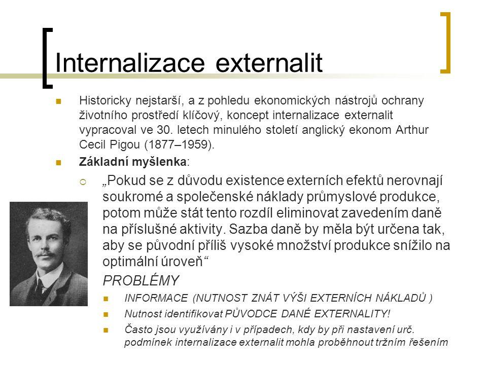 Internalizace externalit Historicky nejstarší, a z pohledu ekonomických nástrojů ochrany životního prostředí klíčový, koncept internalizace externalit