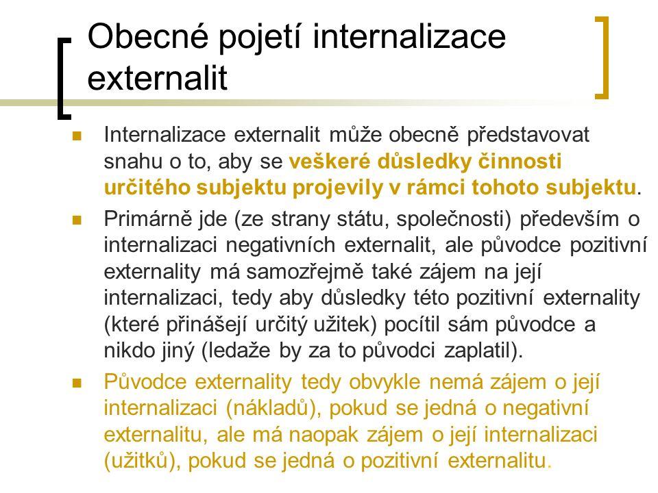 Obecné pojetí internalizace externalit Internalizace externalit může obecně představovat snahu o to, aby se veškeré důsledky činnosti určitého subjekt