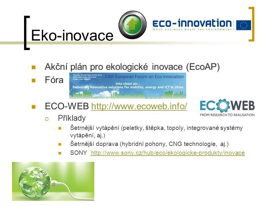 Eko-inovace Akční plán pro ekologické inovace (EcoAP) Fóra ECO-WEB http://www.ecoweb.info/http://www.ecoweb.info/  Příklady Šetrnější vytápění (peletky, štěpka, topoly, integrované systémy vytápění, aj.) Šetrnější doprava (hybridní pohony, CNG technologie, aj.) SONY http://www.sony.cz/hub/eco/ekologicke-produkty/inovacehttp://www.sony.cz/hub/eco/ekologicke-produkty/inovace