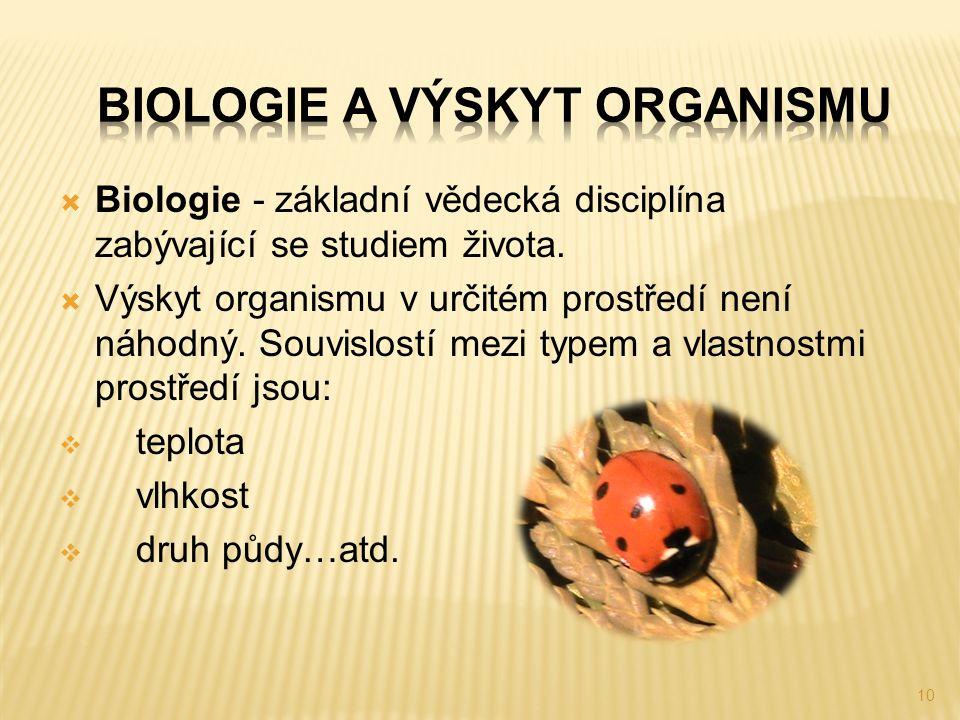 10  Biologie - základní vědecká disciplína zabývající se studiem života.