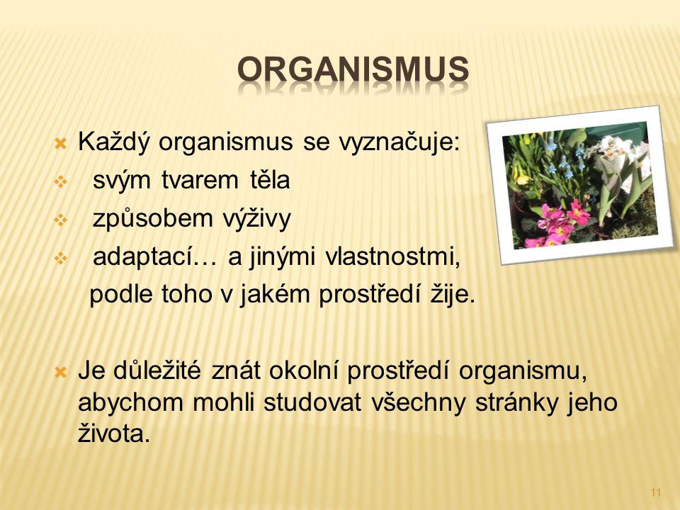 11  Každý organismus se vyznačuje:  svým tvarem těla  způsobem výživy  adaptací… a jinými vlastnostmi, podle toho v jakém prostředí žije.