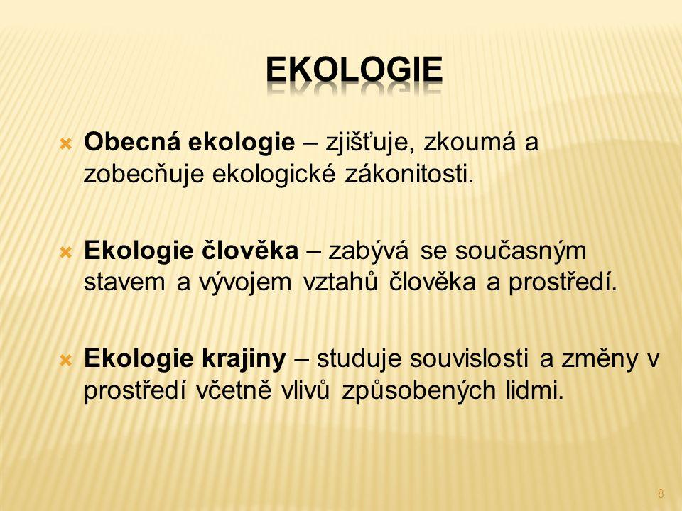 8  Obecná ekologie – zjišťuje, zkoumá a zobecňuje ekologické zákonitosti.