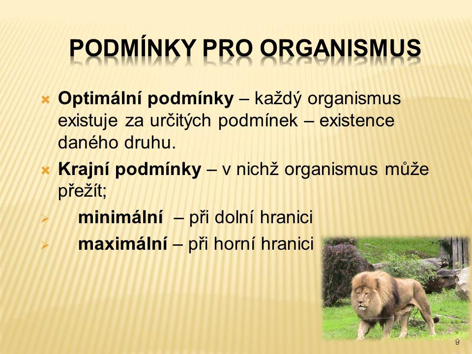 9  Optimální podmínky – každý organismus existuje za určitých podmínek – existence daného druhu.