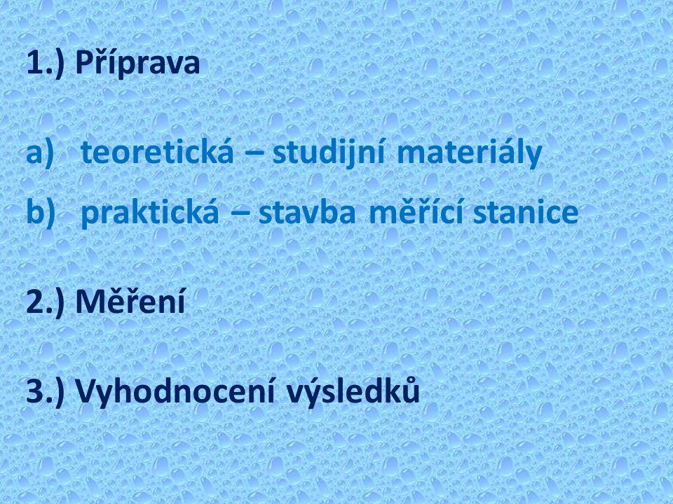 1.) Příprava a)teoretická – studijní materiály b)praktická – stavba měřící stanice 2.) Měření 3.) Vyhodnocení výsledků