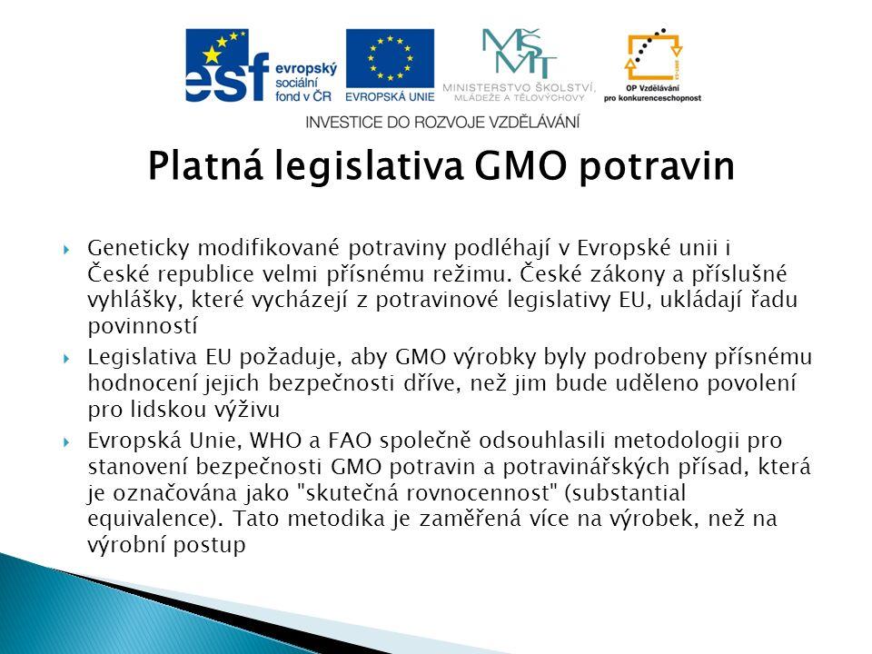 Platná legislativa GMO potravin  Geneticky modifikované potraviny podléhají v Evropské unii i České republice velmi přísnému režimu. České zákony a p
