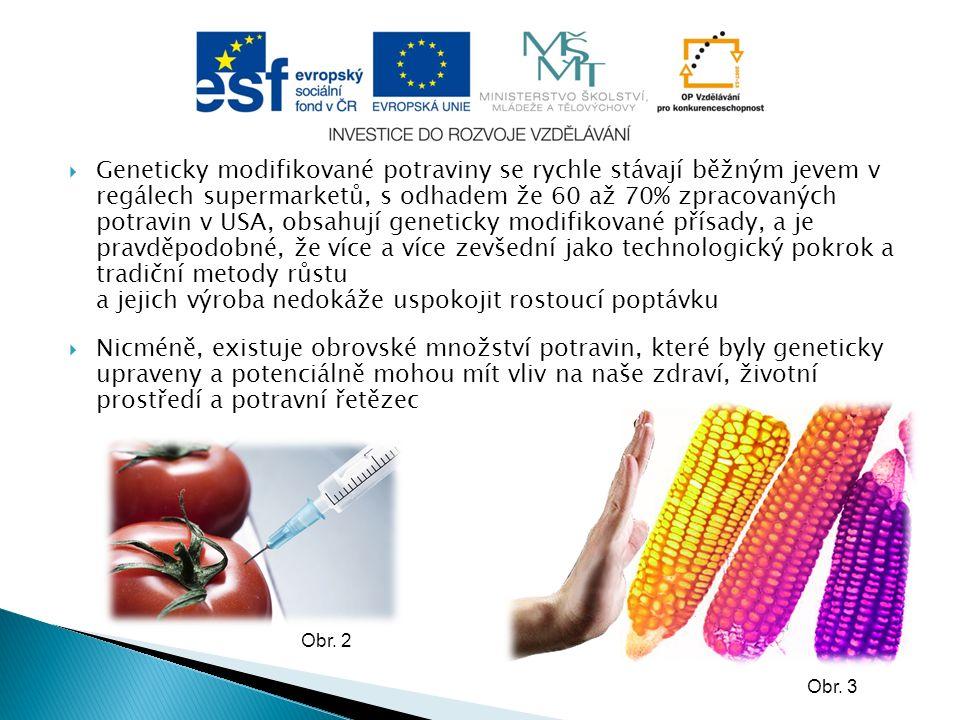  Geneticky modifikované potraviny se rychle stávají běžným jevem v regálech supermarketů, s odhadem že 60 až 70% zpracovaných potravin v USA, obsahují geneticky modifikované přísady, a je pravděpodobné, že více a více zevšední jako technologický pokrok a tradiční metody růstu a jejich výroba nedokáže uspokojit rostoucí poptávku  Nicméně, existuje obrovské množství potravin, které byly geneticky upraveny a potenciálně mohou mít vliv na naše zdraví, životní prostředí a potravní řetězec Obr.