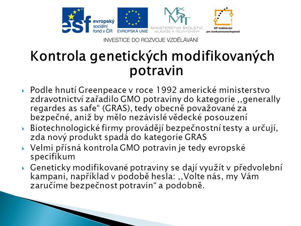 Kontrola genetických modifikovaných potravin  Podle hnutí Greenpeace v roce 1992 americké ministerstvo zdravotnictví zařadilo GMO potraviny do katego