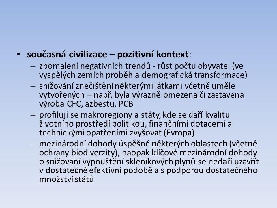 současná civilizace – pozitivní kontext: – zpomalení negativních trendů - růst počtu obyvatel (ve vyspělých zemích proběhla demografická transformace)