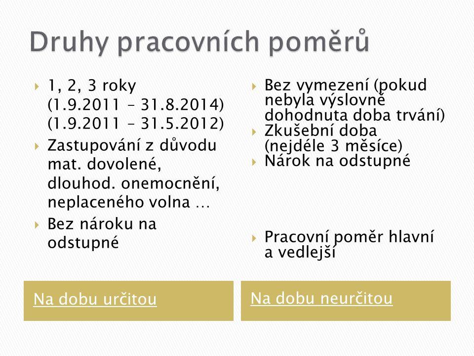 Na dobu určitou Na dobu neurčitou  1, 2, 3 roky (1.9.2011 – 31.8.2014) (1.9.2011 – 31.5.2012)  Zastupování z důvodu mat.