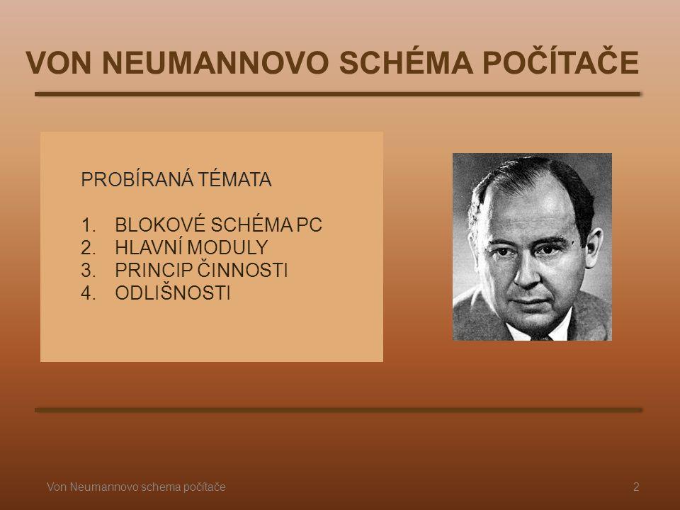 PROBÍRANÁ TÉMATA 1.BLOKOVÉ SCHÉMA PC 2.HLAVNÍ MODULY 3.PRINCIP ČINNOSTI 4.ODLIŠNOSTI VON NEUMANNOVO SCHÉMA POČÍTAČE 2Von Neumannovo schema počítače