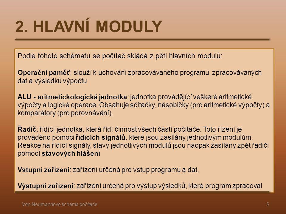 Podle tohoto schématu se počítač skládá z pěti hlavních modulů: Operační paměť: slouží k uchování zpracovávaného programu, zpracovávaných dat a výsled