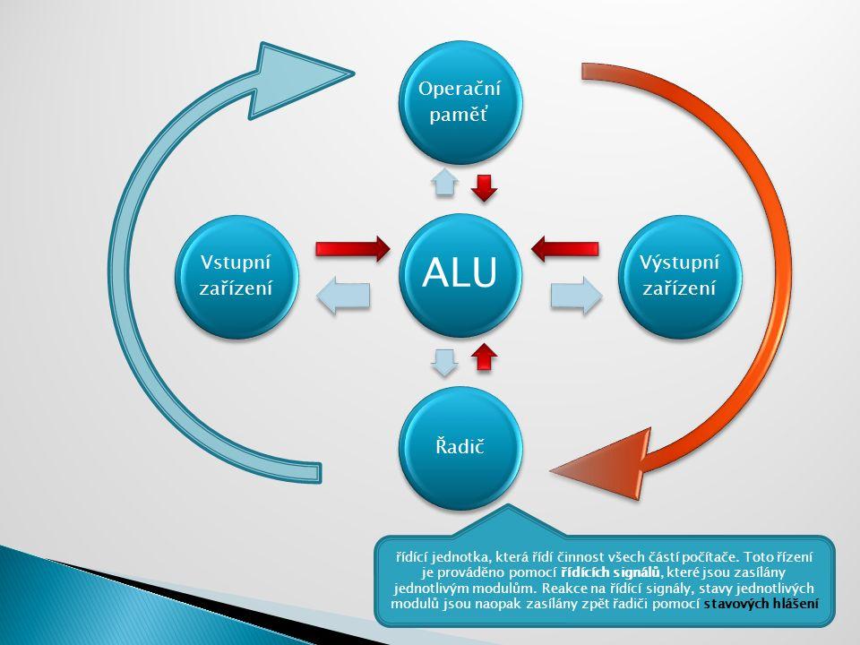 ALU Operační paměť Výstupní zařízení Řadič Vstupní zařízení řídící jednotka, která řídí činnost všech částí počítače. Toto řízení je prováděno pomocí