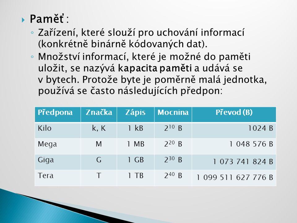  Vnitřní (operační) ◦ paměť sloužící pro uchování momentálně zpracovávaných dat a programů.