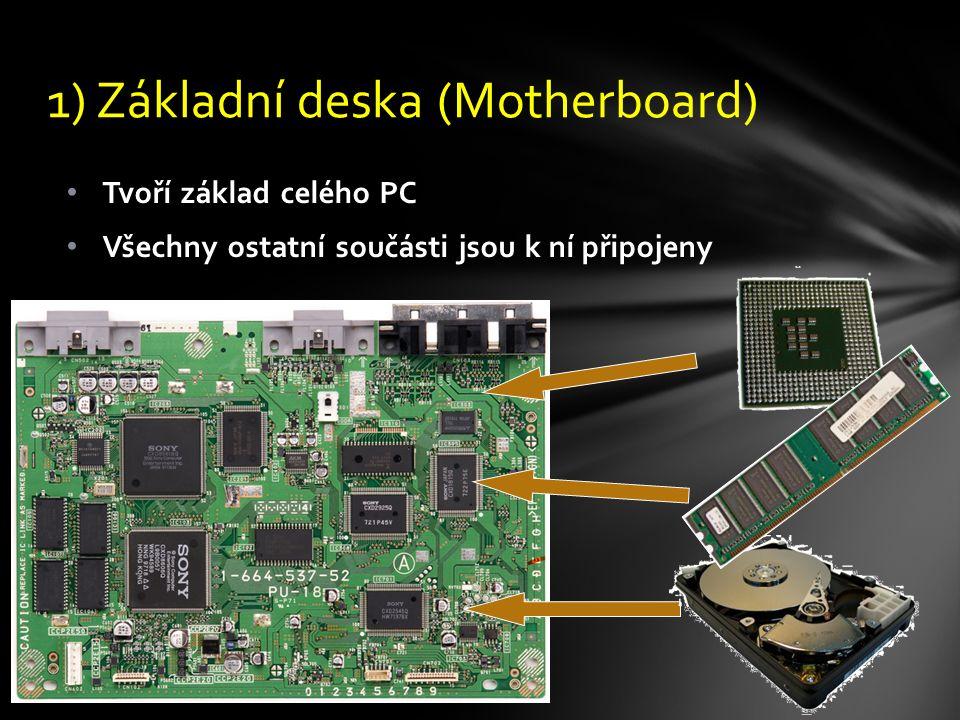 Tvoří základ celého PC Všechny ostatní součásti jsou k ní připojeny 1) Základní deska (Motherboard)
