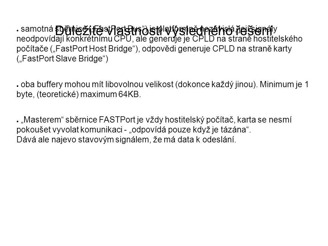 """Důležité vlastnosti výsledného řešení ● samotná sběrnice (""""FastPort Bus ) je platformně nezávislá, její signály neodpovídají konkrétnímu CPU, ale generuje je CPLD na straně hostitelského počítače (""""FastPort Host Bridge ), odpovědi generuje CPLD na straně karty (""""FastPort Slave Bridge ) ● oba buffery mohou mít libovolnou velikost (dokonce každý jinou)."""
