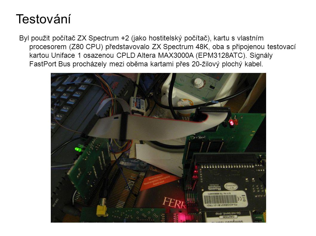 Testování Byl použit počítač ZX Spectrum +2 (jako hostitelský počítač), kartu s vlastním procesorem (Z80 CPU) představovalo ZX Spectrum 48K, oba s připojenou testovací kartou Uniface 1 osazenou CPLD Altera MAX3000A (EPM3128ATC).
