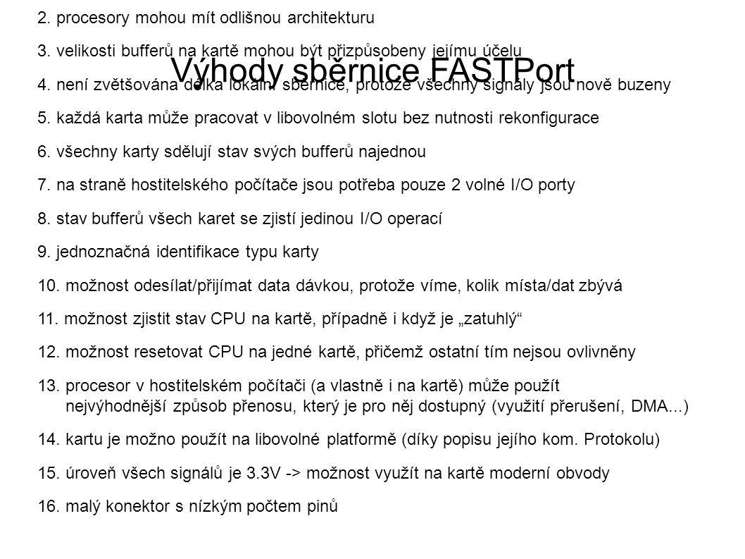 Výhody sběrnice FASTPort 1.