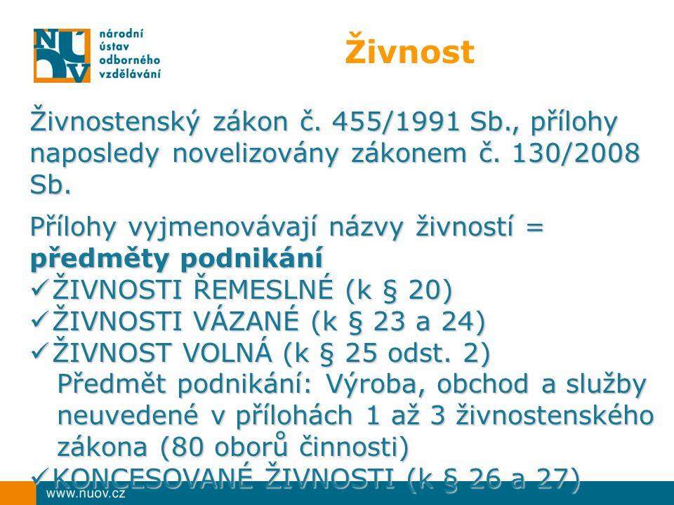 Živnost Živnostenský zákon č. 455/1991 Sb., přílohy naposledy novelizovány zákonem č.