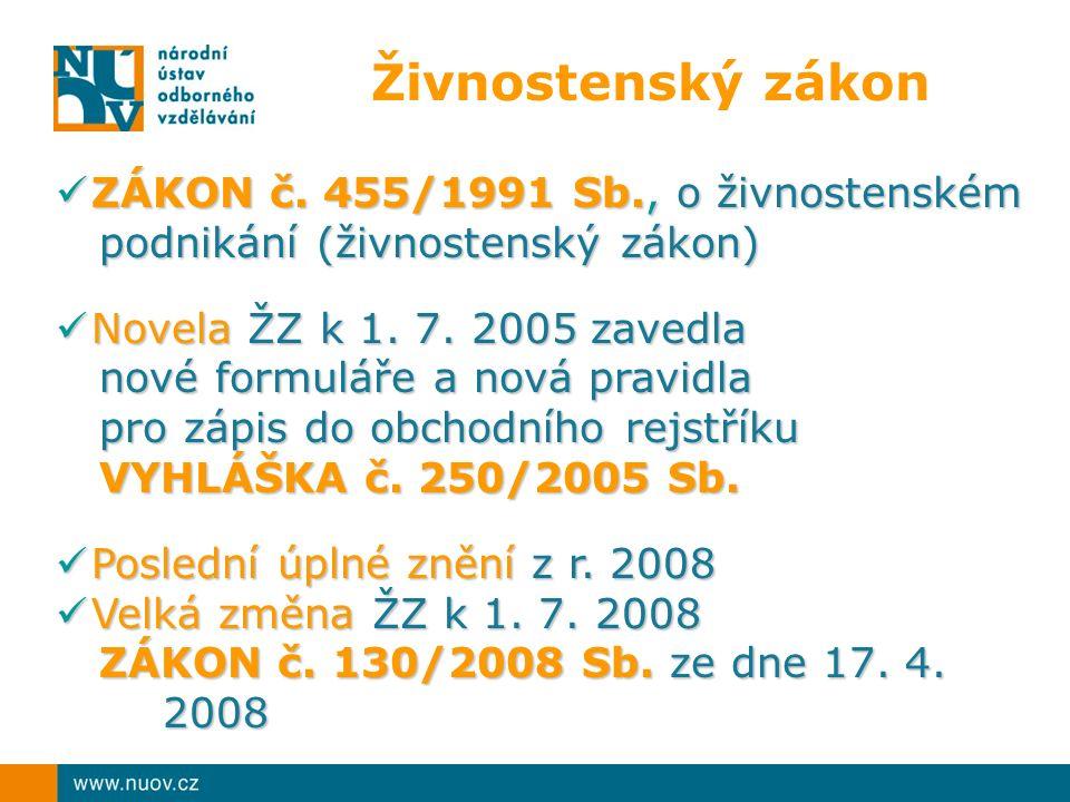 Živnostenský zákon ZÁKON č. 455/1991 Sb., o živnostenském podnikání (živnostenský zákon) ZÁKON č.