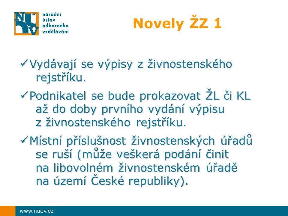 Novely ŽZ 1 Vydávají se výpisy z živnostenského Vydávají se výpisy z živnostenského rejstříku.