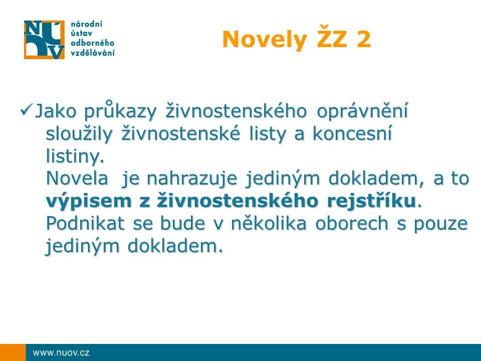 Novely ŽZ 2 Jako průkazy živnostenského oprávnění sloužily živnostenské listy a koncesní listiny.