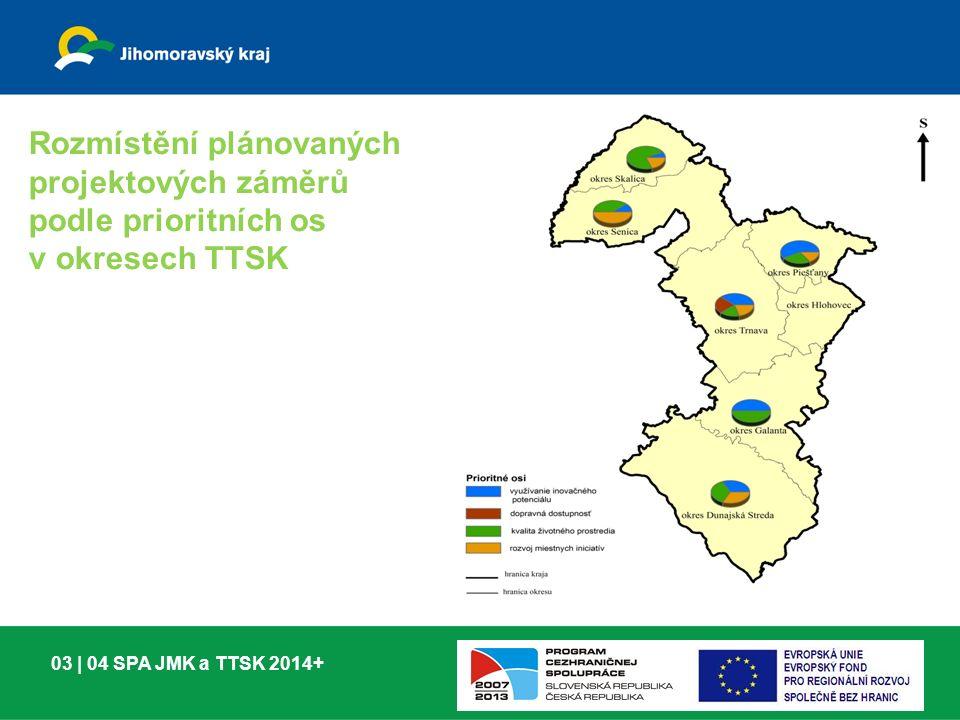 03 | 04 SPA JMK a TTSK 2014+ Rozmístění plánovaných projektových záměrů podle prioritních os v okresech TTSK