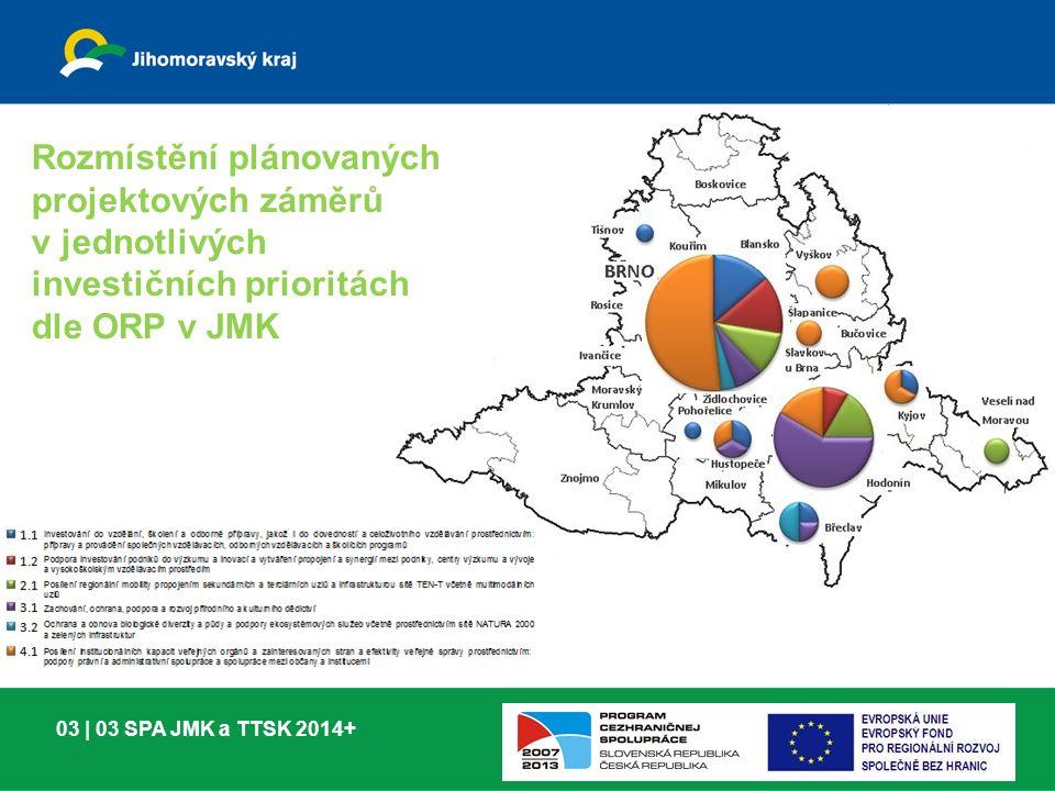 03 | 03 SPA JMK a TTSK 2014+ Rozmístění plánovaných projektových záměrů v jednotlivých investičních prioritách dle ORP v JMK