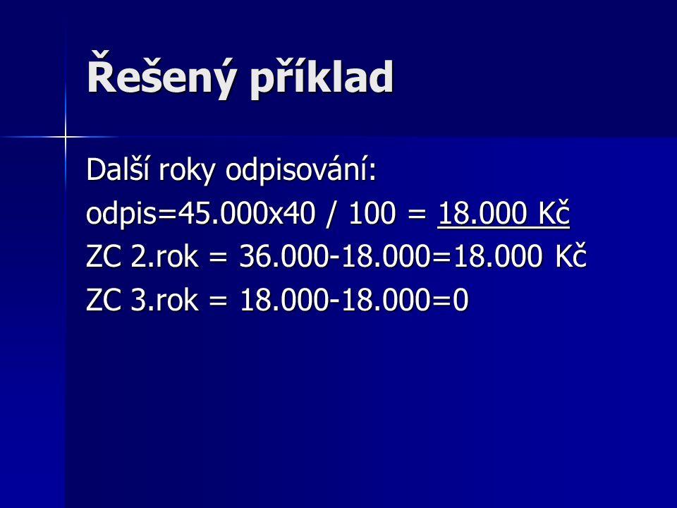 Řešený příklad Další roky odpisování: odpis=45.000x40 / 100 = 18.000 Kč ZC 2.rok = 36.000-18.000=18.000 Kč ZC 3.rok = 18.000-18.000=0