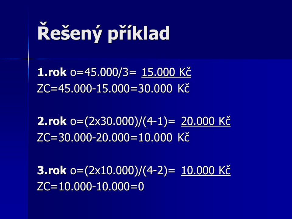 Řešený příklad 1.rok o=45.000/3= 15.000 Kč ZC=45.000-15.000=30.000 Kč 2.rok o=(2x30.000)/(4-1)= 20.000 Kč ZC=30.000-20.000=10.000 Kč 3.rok o=(2x10.000