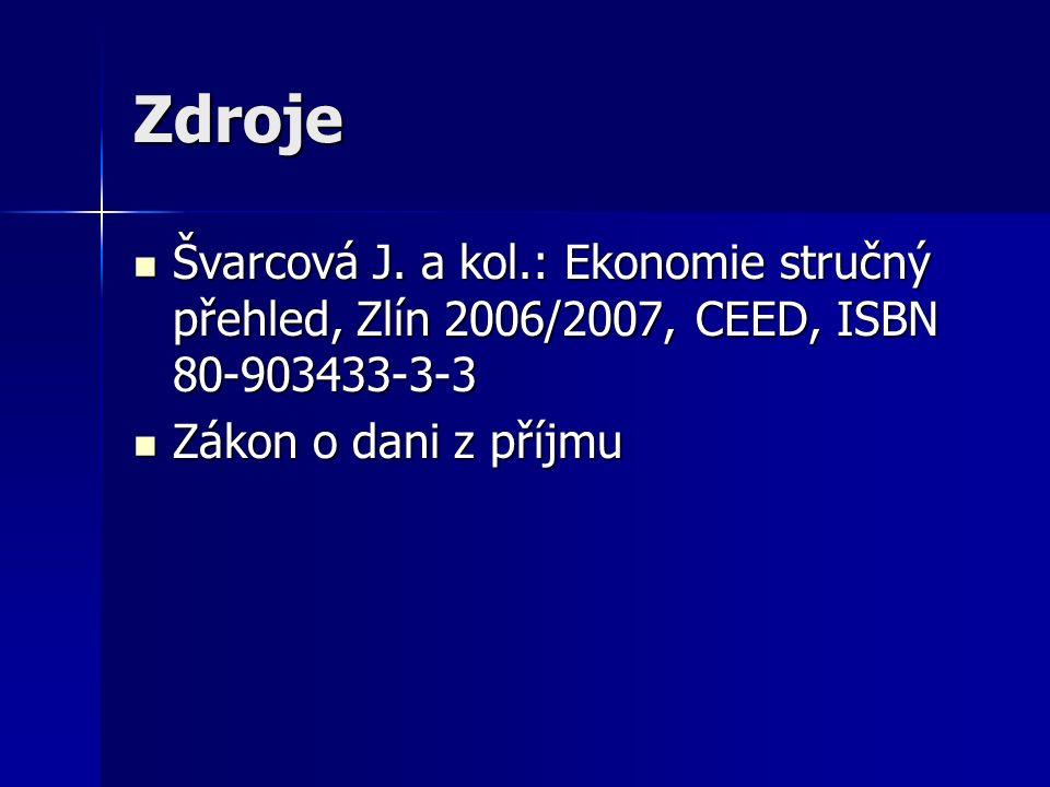Zdroje Švarcová J. a kol.: Ekonomie stručný přehled, Zlín 2006/2007, CEED, ISBN 80-903433-3-3 Švarcová J. a kol.: Ekonomie stručný přehled, Zlín 2006/