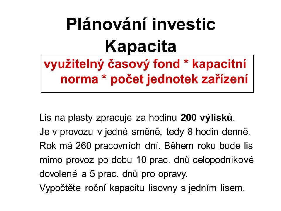 Kapacita Plánování investic využitelný časový fond * kapacitní norma * počet jednotek zařízení Lis na plasty zpracuje za hodinu 200 výlisků.