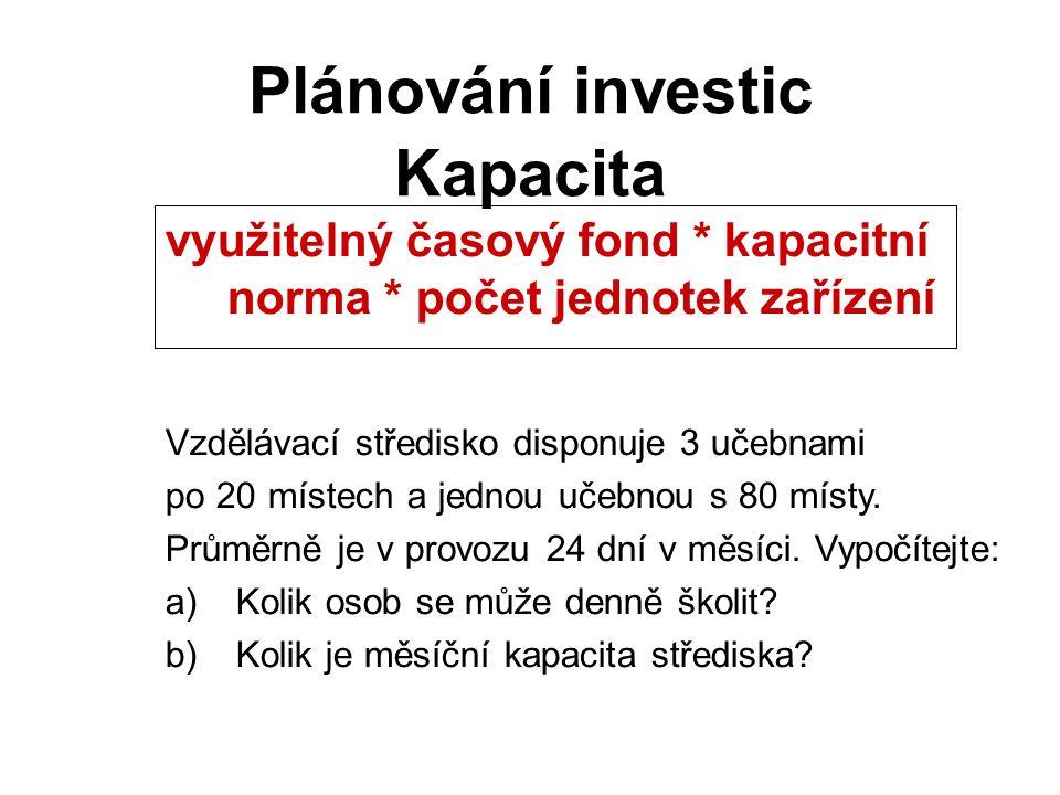 Kapacita Plánování investic využitelný časový fond * kapacitní norma * počet jednotek zařízení Vzdělávací středisko disponuje 3 učebnami po 20 místech a jednou učebnou s 80 místy.