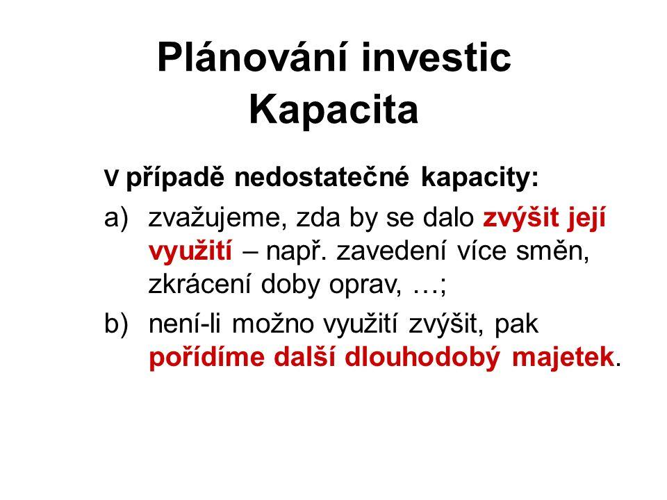 Kapacita Plánování investic V případě nedostatečné kapacity: a)zvažujeme, zda by se dalo zvýšit její využití – např.