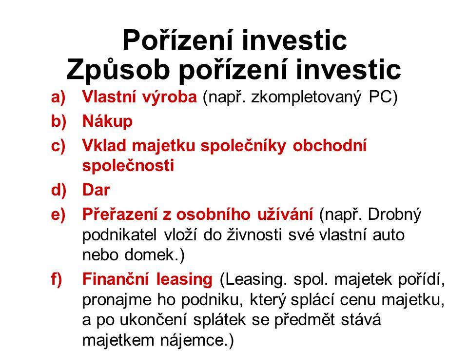 Způsob pořízení investic Pořízení investic a)Vlastní výroba (např.