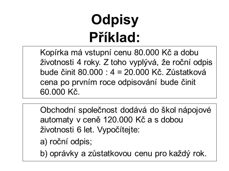 Příklad: Odpisy Kopírka má vstupní cenu 80.000 Kč a dobu životnosti 4 roky.