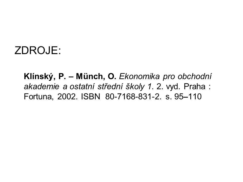 ZDROJE: Klínský, P. – Münch, O. Ekonomika pro obchodní akademie a ostatní střední školy 1.